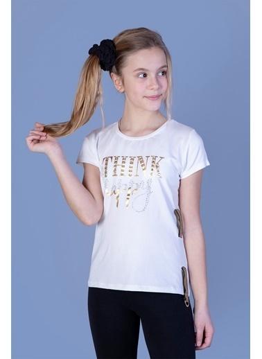 Toontoy Kids Toontoy Kız Çocuk Baskılı Taş İşlemeli Yanı Şerit Detaylı Tişört Ekru
